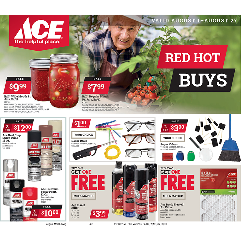 Ace Hardware Red Hoy Buys August 2019