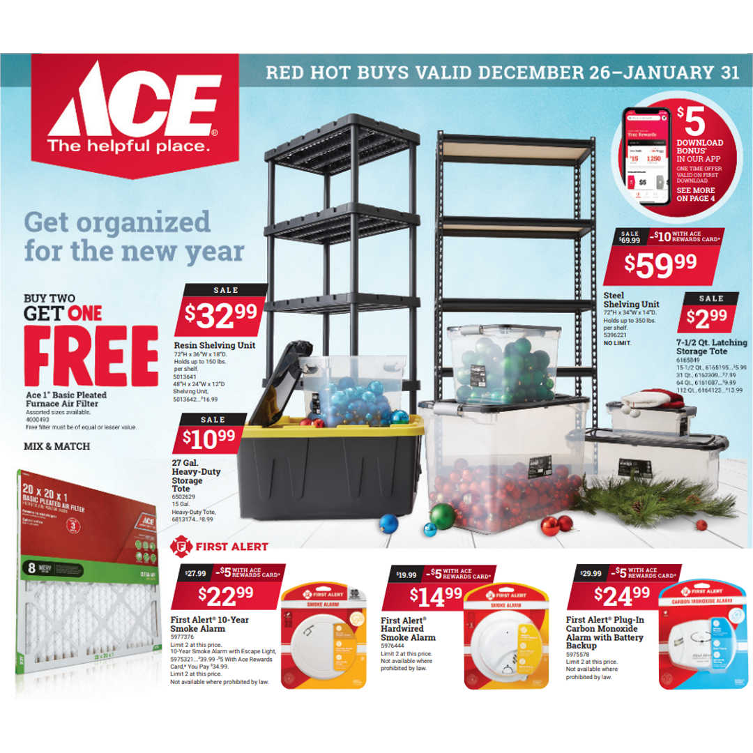 Ace Hardware Red Hot Buys valid until January 31, 2021