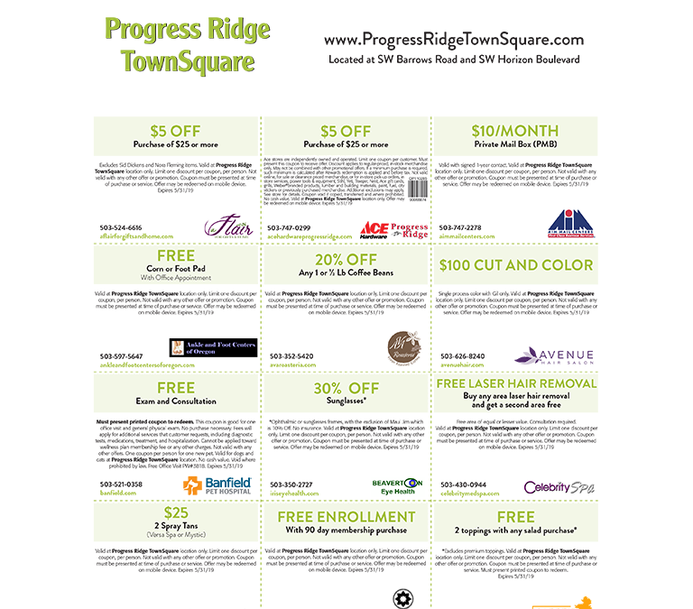 Enjoy these Valuable Offers from Progress Ridge TownSquare