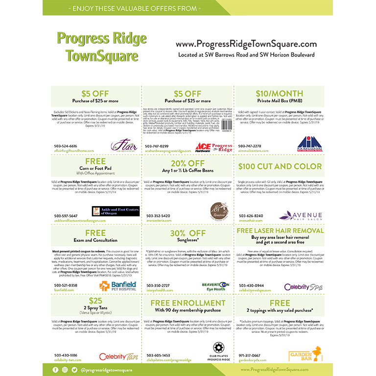 Progress Ridge TownSquare Online Coupons valid through May 2019