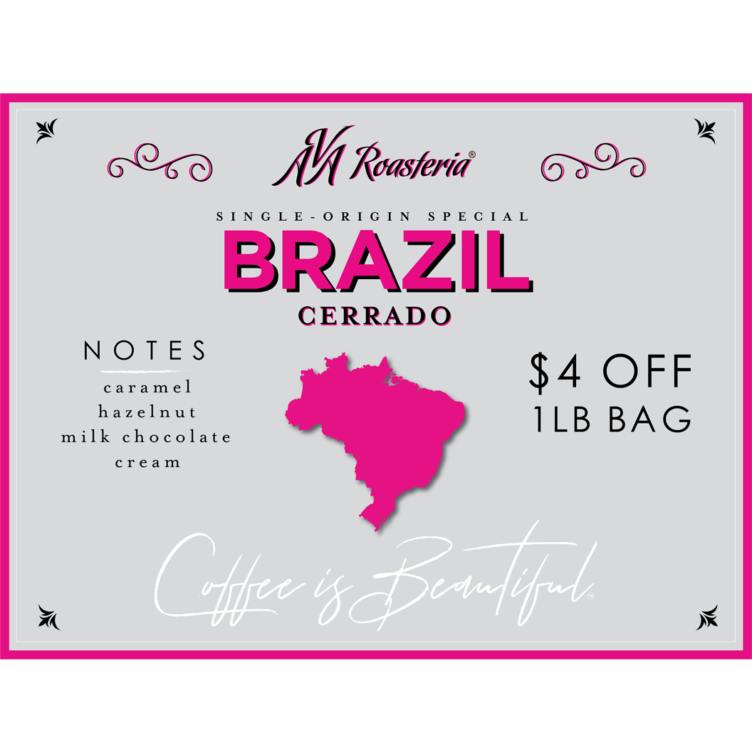 Single Origin Brazil Cerrado coffee on drip as well as selling our one-pound bags of these beans on a discount (originally $18/pound, the special will discount this to $14/pound).