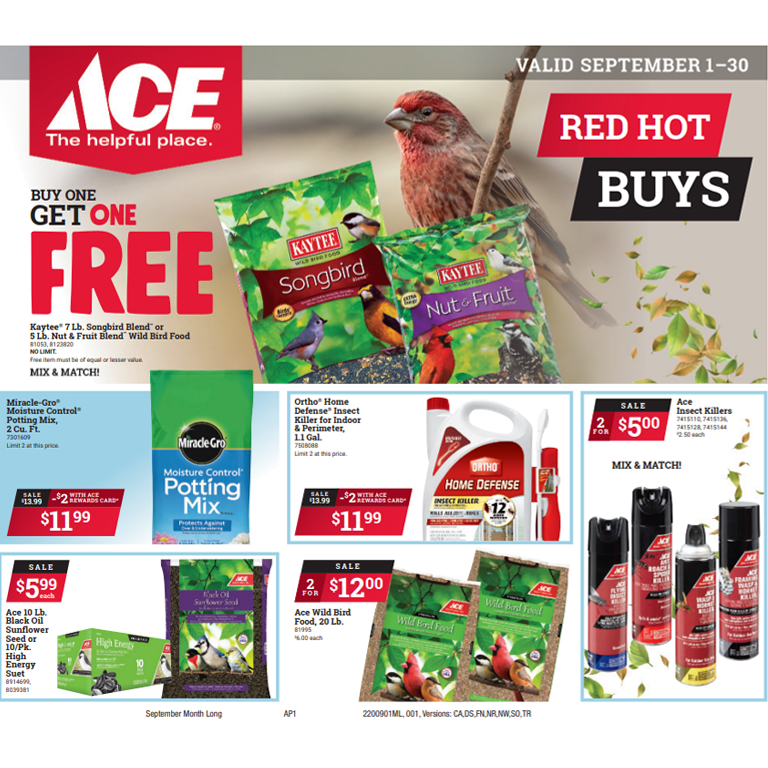 Ace Hardware Red Hot Buys valid September 1-30