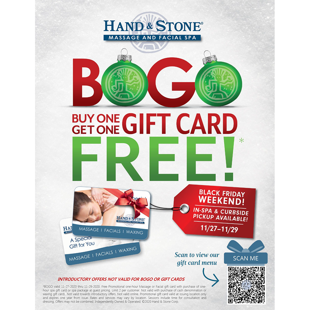 Hand & Stone Massage and Facial Spa - Black Friday Weekend BOGO gift card